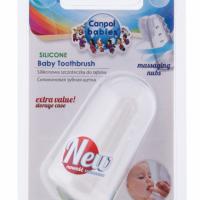 Canpol Babies Pierwsza szczoteczka do zębów z wypustkami masującymi, w pojemniku